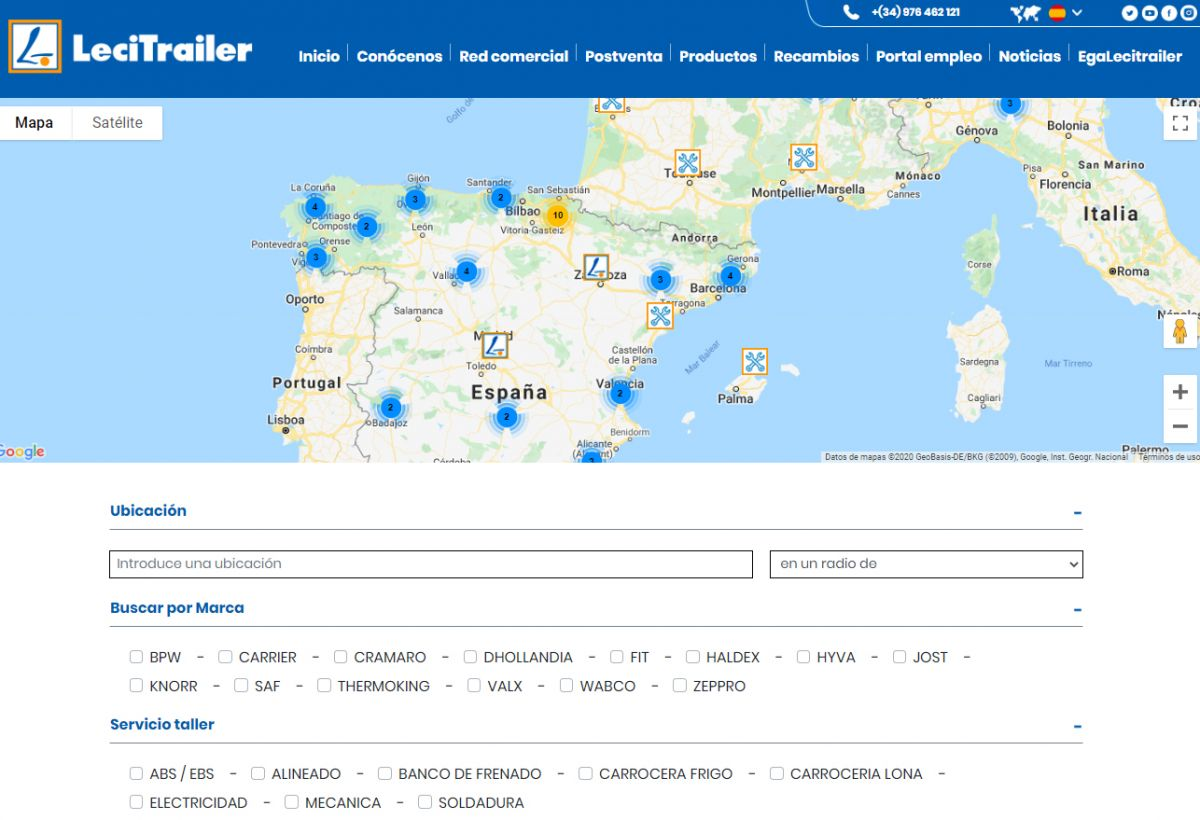 New search engine for authorised service centres at www.lecitrailer.com